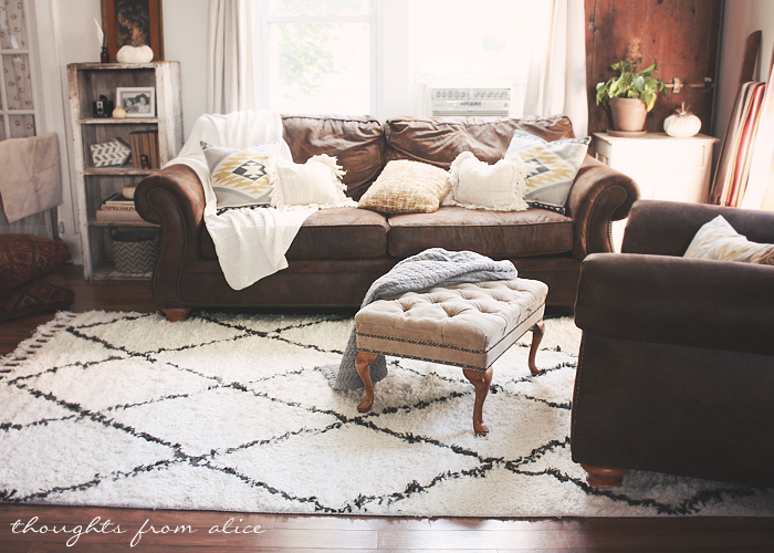 Boho chic living room makeover finding the perfect rug for Brown couch living room