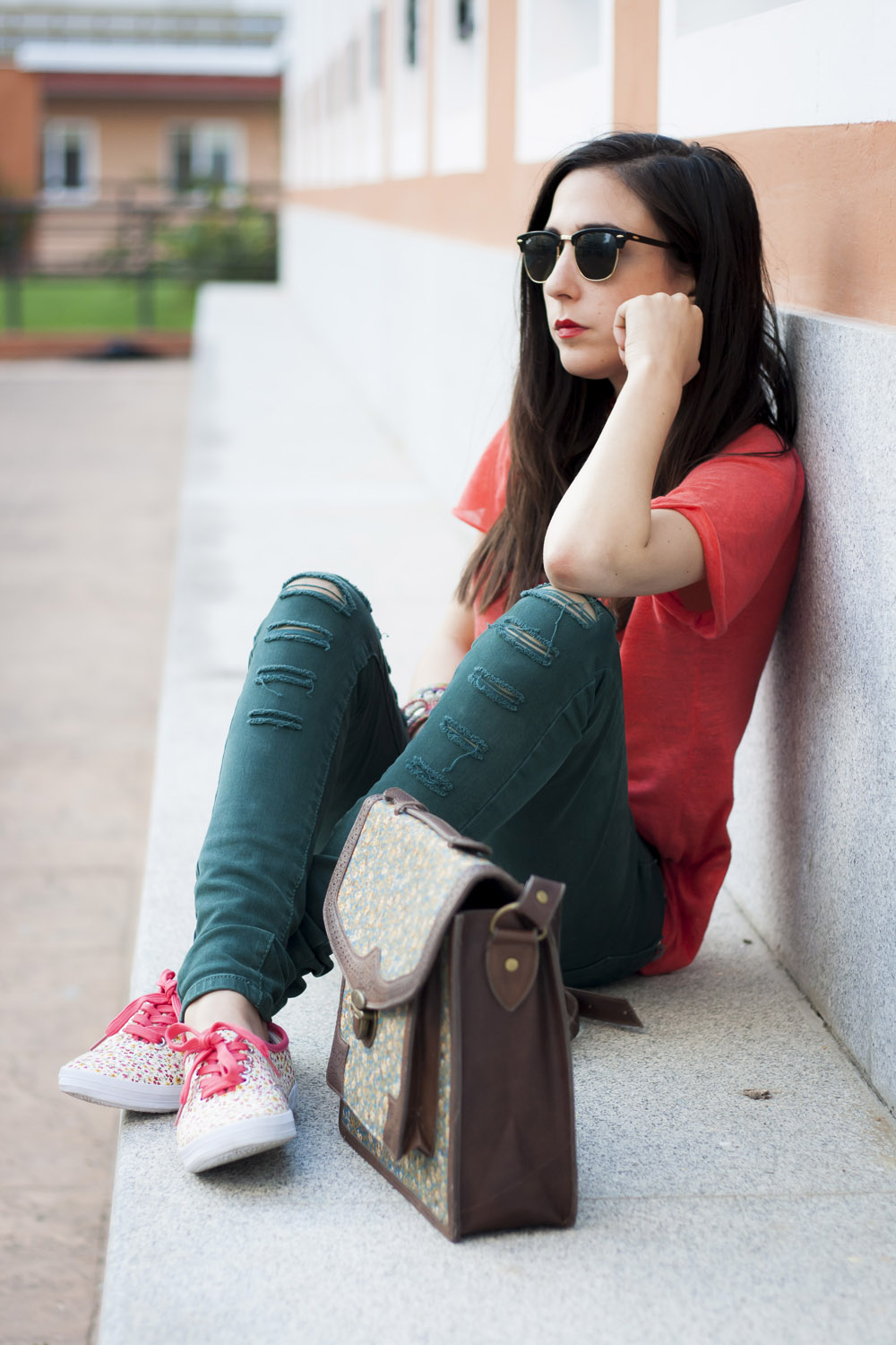 Floral Sneakers And Coral T-Shirt