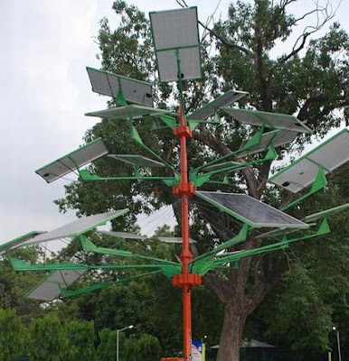 India's new Solar Power Tree can light 5 homes in just 4 sq ft of land.