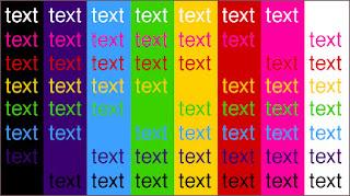 ejemplo de diversos fondos con diferentes color de fuentes
