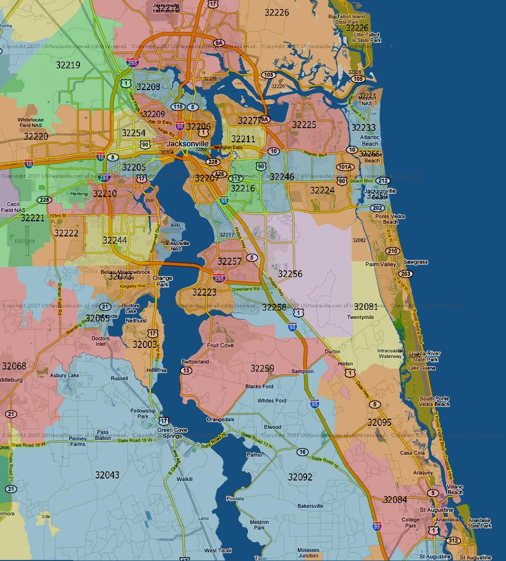 Jacksonville Zip Code Map Printable Bellissimonyc Com