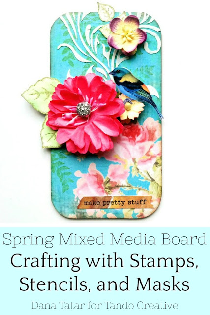 Spring Chipboard Mixed Media Board with Pink Flowers and Birds