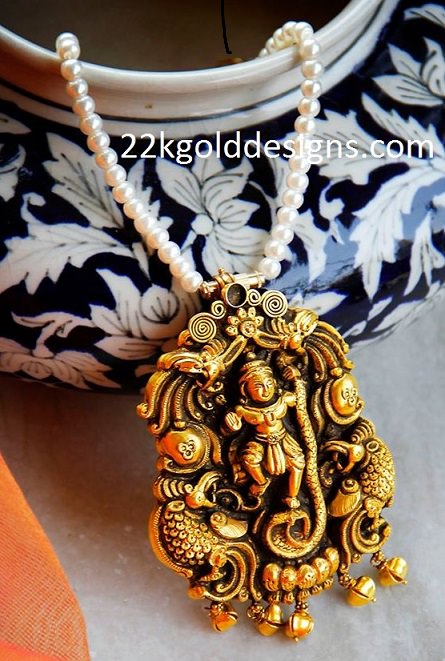 Divine Nakshi Pendant with Pearl Chain