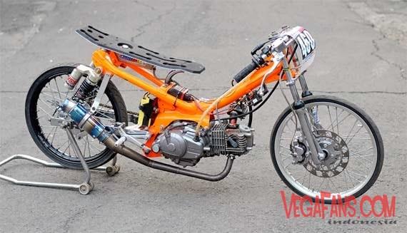 Modifikasi Vega ZR Drag Bike Warna Orange