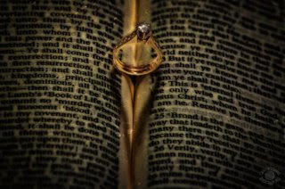 Picture of a bride's wedding ring forming a heart shaped shadow on an open book professionally photographed by Cramer Imaging