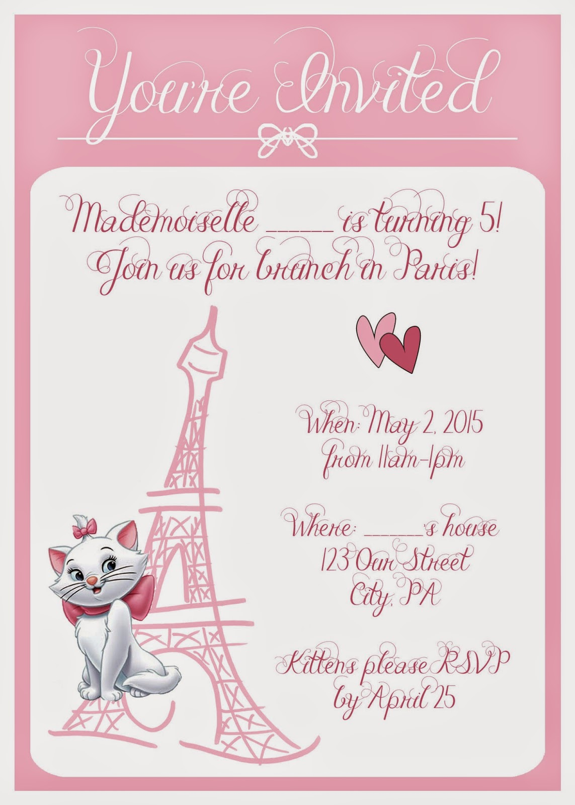 Moms Tot School Aristocats Kitten Birthday Party