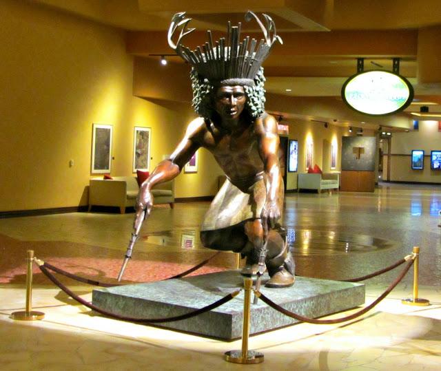 """The ten foot tall """"Deer Dancer"""" statue at the Buffalo Thunder Resort"""
