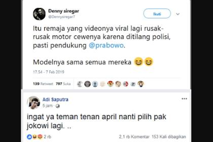 Denny Siregar Tuduh Pembanting Motor Pendukung Prabowo,  Bikin Ngakak Ternyata Fb-nya Malah Dukung Jokowi