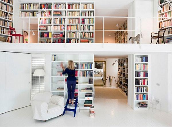 Hogares frescos 37 ideas para la biblioteca de dise o con - Muebles bibliotecas modernas ...