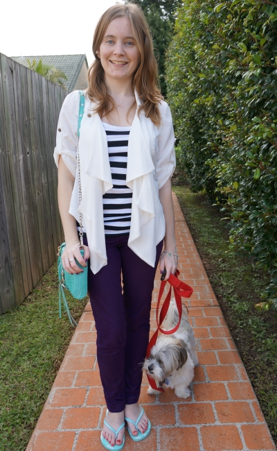 away from blue purple skinny jeans aquamarine mini mac stripe tank waterfall drape jacket