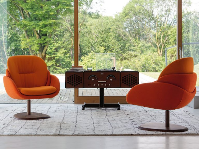 quirky mid century modern orange swivel chairs