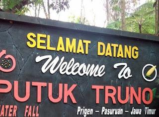 Papan Nama Air Terjun Putuk Truno Prigen