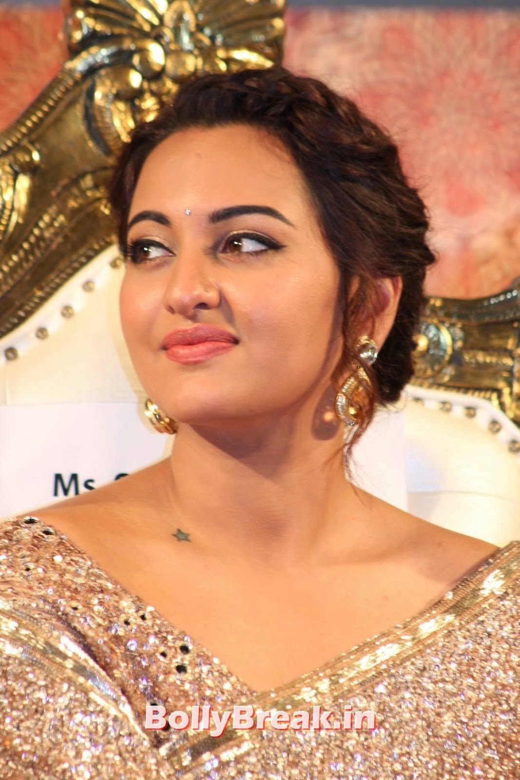 Sonakshi Sinha Pics In Golden Saree At Lingaa Tamil Movie Audio Launch - 12 Pics-9261