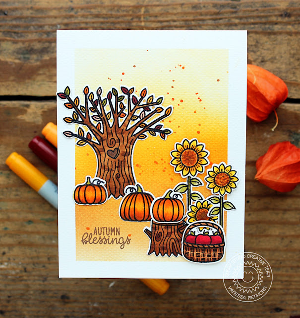Sunny Studio Stamps: Happy Harvest Watercolor Background Autumn Blessings Card by Vanessa Menhorn