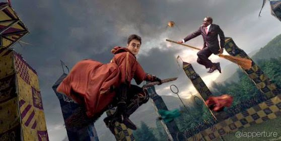Mugabe playing quidditch with Harry Potter via geniushowto.blogspot.com #MugabeFalls memes