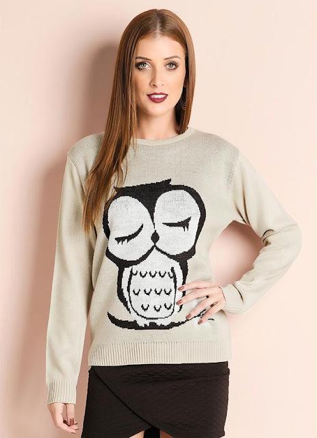 Suéter de Tricô Estampa de Coruja