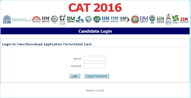 CAT Admit Card 2016
