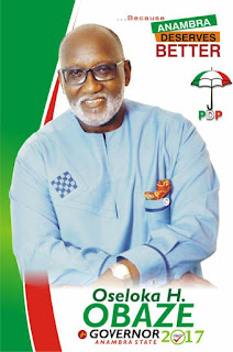 Oseloka Henry Obaze has won the 2017 Anambra Peoples Democratic Party, (PDP) Primaries.