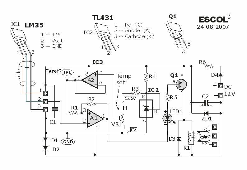 Skema rangkaian pengontrol suhu dengan LM35DZ