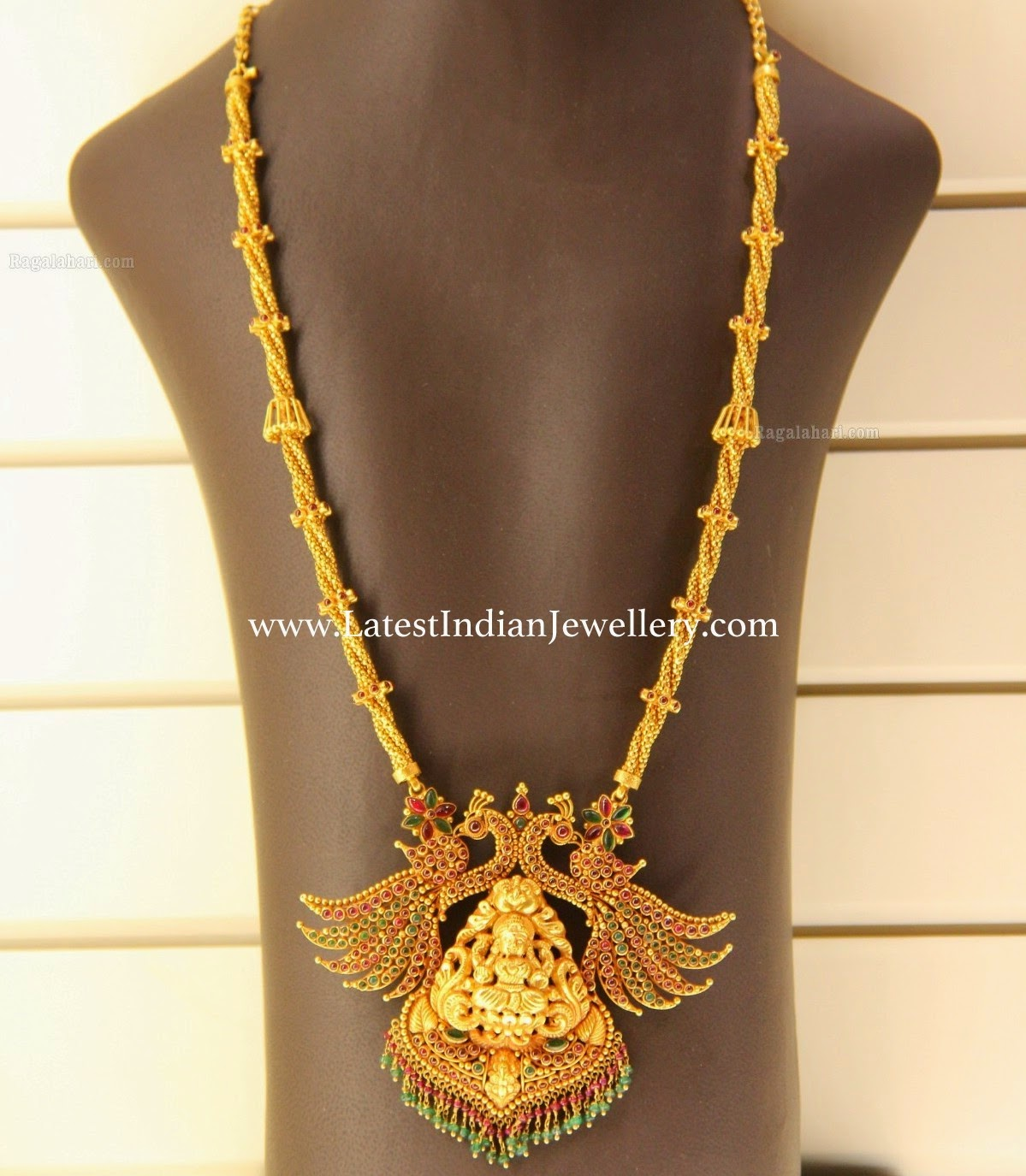 Trendy Temple Design Peacock Haram Latest Indian