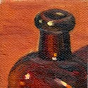 Small oil painting of the lip, neck and shoulder of an antique brown glass medicine bottle.