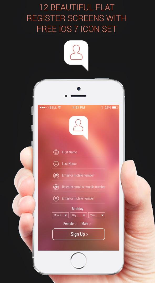 12 Register App Screens