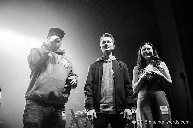 The crew from Indie 88 including Josie Dye, Matt and Carlin at The Danforth Music Hall on May 19, 2018 to celebrate the One-Year Anniversary of the Josie Dye show on Indie 88 Photo by John Ordean at One In Ten Words oneintenwords.com toronto indie alternative live music blog concert photography pictures photos
