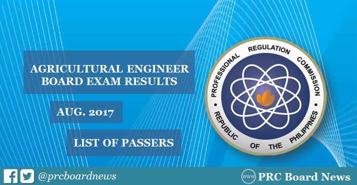 Agricultural Engineer board exam results 2017