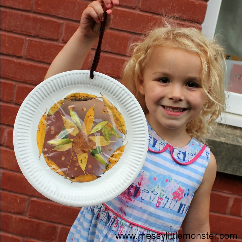 autumn crafst for toddlers and preschoolers - leaf suncatcher craft