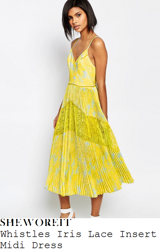 caroline-flack-whistles-iris-yellow-and-pale-blue-palm-tree-leaf-print-sleeveless-cami-strap-v-neck-lace-insert-pleated-midi-dress