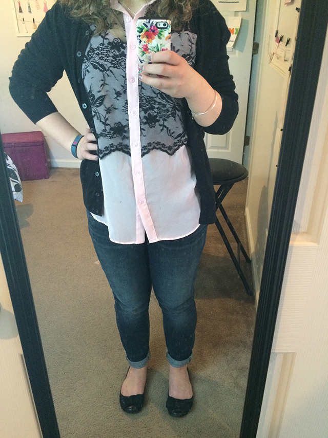 ootd pink lace black skinny jeans outfit High Five for Friday + Five Minute Friday: Easy