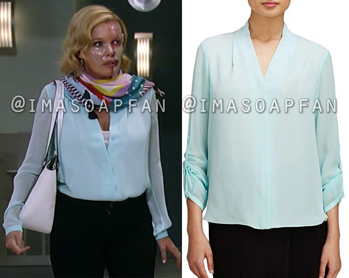Ava Jerome, Maura West, Light Blue-Green Silk Blouse, Elie Tahari, General Hospital, GH
