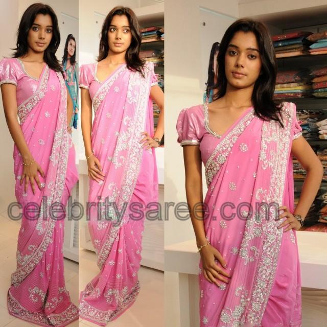 4c2cf7a8abc1e Crystal Work Sari Puffed Sleeves Blouse - Saree Blouse Patterns