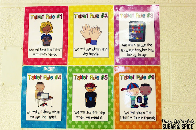 5 Teacher Tips for Technology Organization by Miss DeCarbo: Tablet Rules FREEBIE