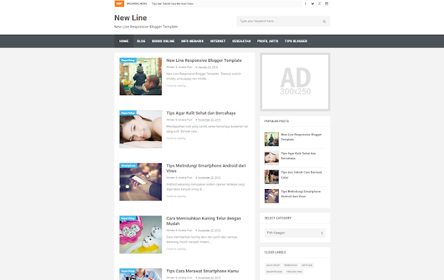 New Line Responsive Blogger Template