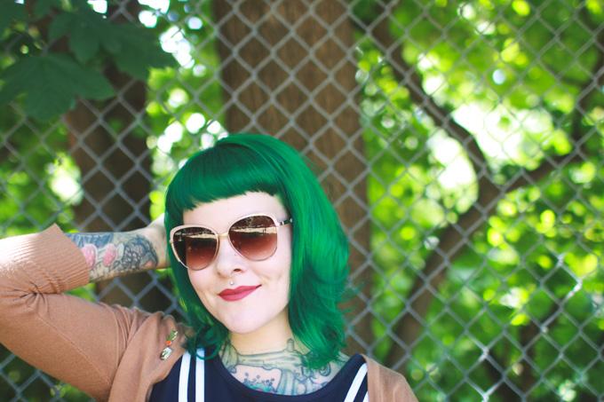 fashion blog, cleveland blogger, green hair, dainty squid