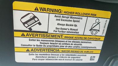 Higher rollover risk warning in SUV
