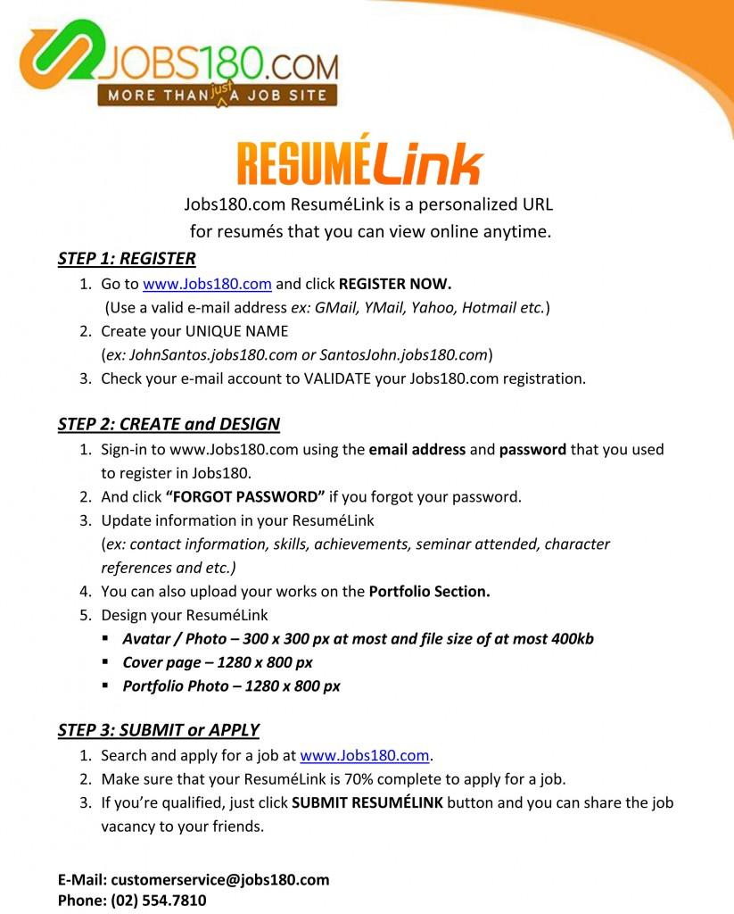 jobs180 resume link
