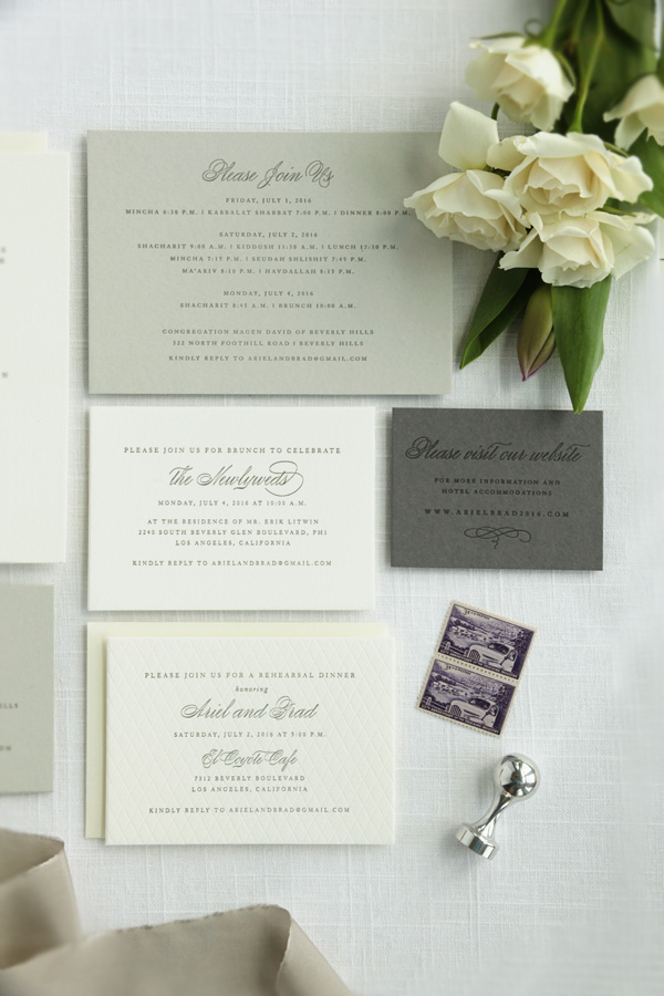 Grey letterpress invitations sweetly said press the envelopes included a smoke grey envelope liner the invitation was wrapped with a charcoal grey belly band and custom l silver wax seals stopboris Choice Image