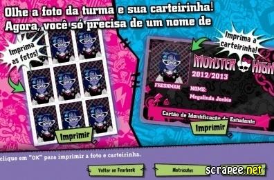 Monster High – Faça sua carteirinha | Atividades de imprimir | Carteirinha monstro