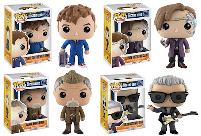 Doctor Who Pop! Series 3 Vinyl Figures by Funko - Tenth Doctor with Hand, Mr Clever Eleventh Doctor, Twelfth Doctor with Guitar & War Doctor