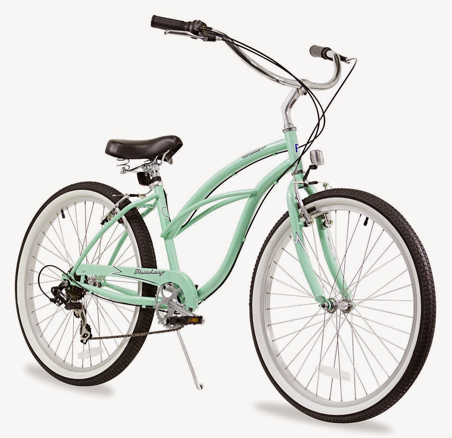 Firmstrong Urban Lady Beach Cruiser bike, 7-speed, mint green color, plus choice of other colors, review, easy to use & comfortable bike with swept-back handlebars for upright riding position, front and rear brakes