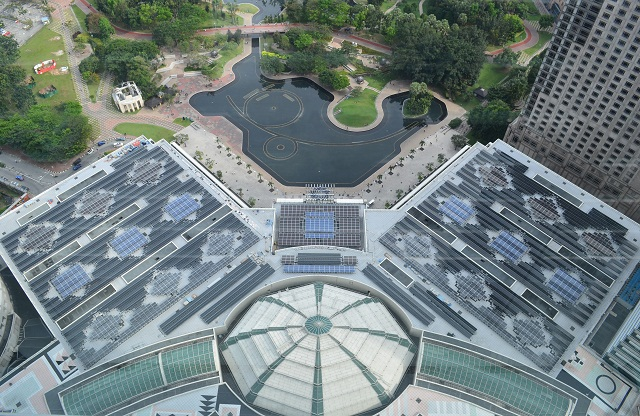 Petronas Solar PV Panels design pattern from the top of KLCC