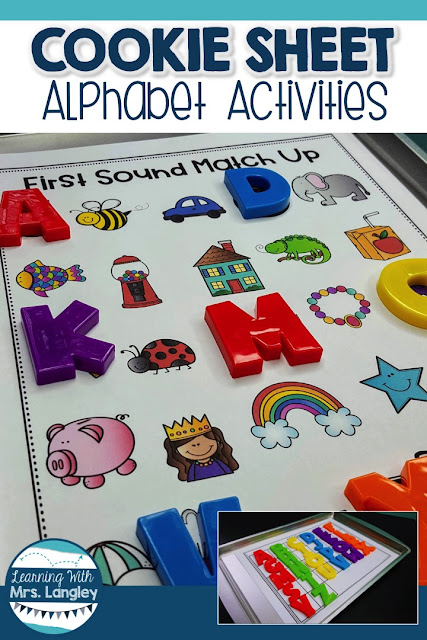 Cookie Sheet Activities are a fun way for toddlers, preschool, kindergarten or first grade students to practice foundational skills. Using these magnetic boards for alphabet practice with alphabet magnets is perfect for centers, small groups, or as an intervention not to mention it is great for fine motor!