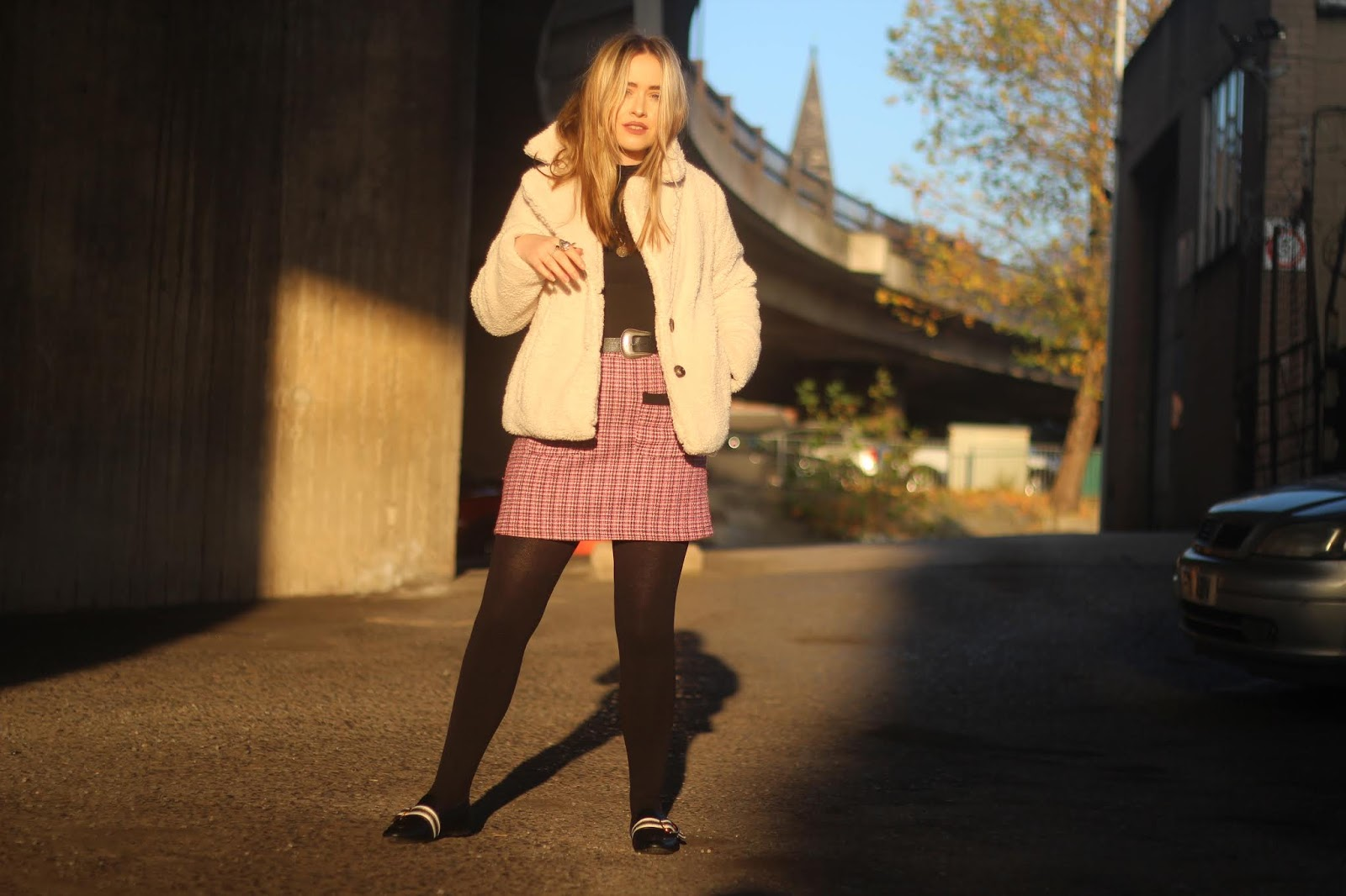 UK blogger Lucy Love styles Miss Selfridge teddy coat