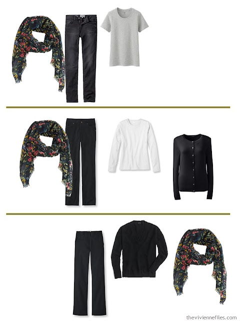 3 ways to wear a dark floral scarf with A Common Wardrobe