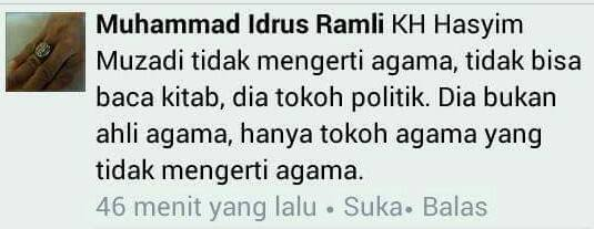 Setelah Serang Kiai Said Aqil dan Habib Luthfi, Idrus Ramli kini Serang KH Hasyim Muzadi