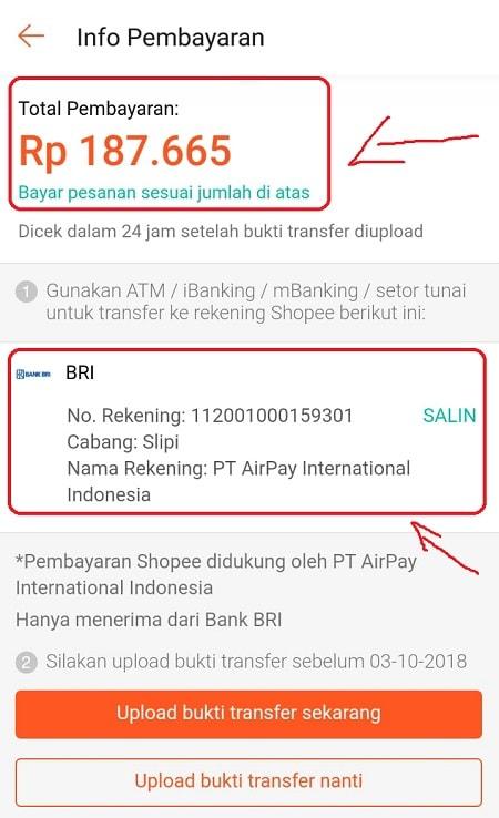 Info Pembayaran Shopee