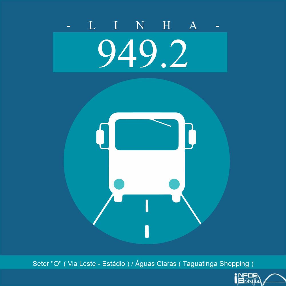 """Horário de ônibus e itinerário 949.2 - Setor """"O"""" ( Via Leste - Estádio ) / Águas Claras ( Taguatinga Shopping )"""