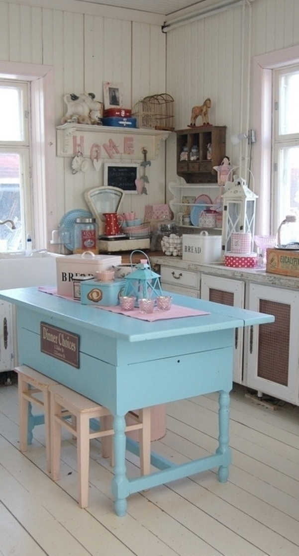This cheap vintage shabby chic style kitchen design and for Cheap decorating ideas for kitchen
